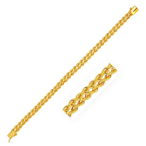 Two Row Rope Bracelet in 14k Yellow Gold (6.0mm)   Richard