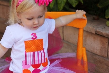 Handmade. Birthday Cake Applique. Baby. Toddler. Kids Shirt. All Sizes. 2T, 4T, 6T, 8, 10, 12. You Choose Colors.