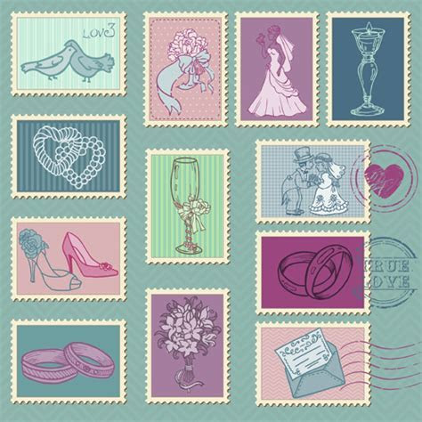 Wedding with love postage stamps vintage vector Free