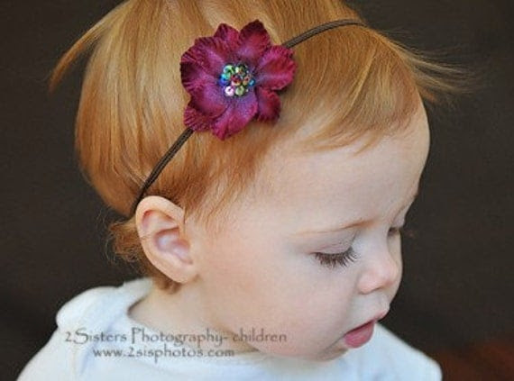 Burgundy Flower and Skinny Headband Set