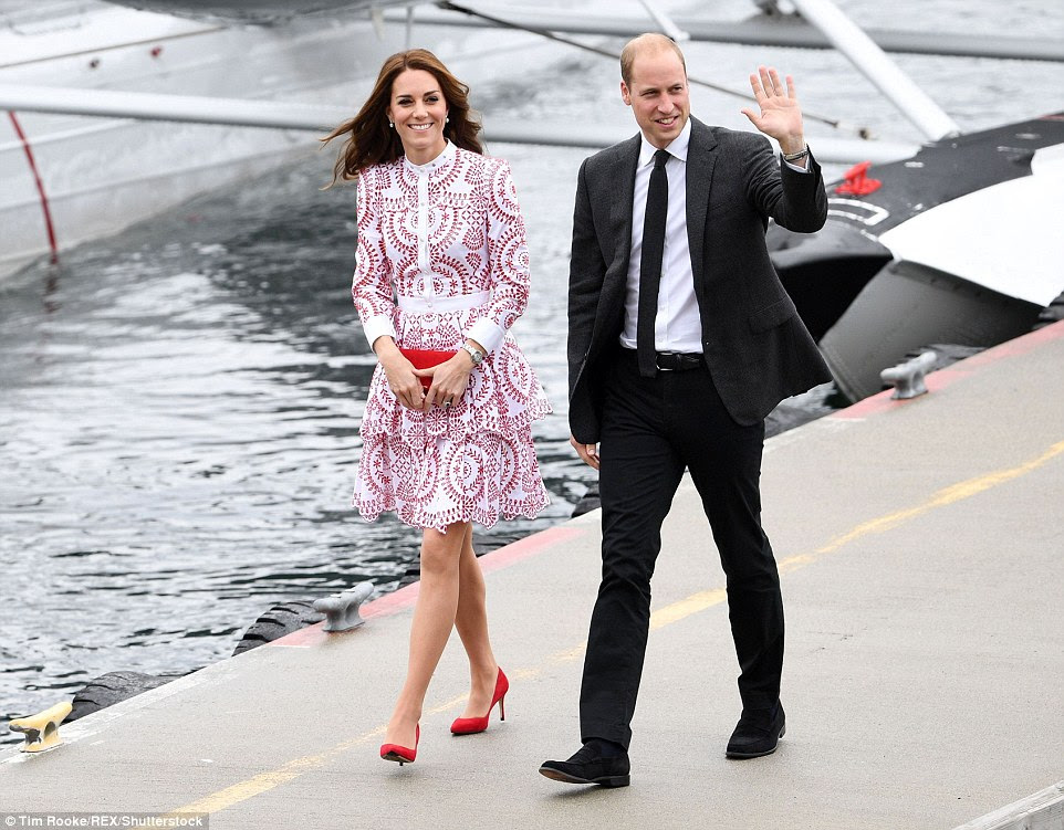 William and Kate waved to waiting crowds after touching down in Vancouver harbour on a seaplane
