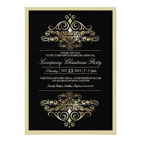 Elegant Formal Company Christmas Party Invitation Cards