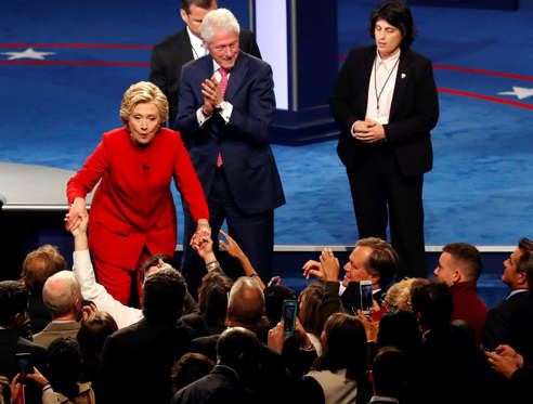 Democratic presidential nominee Hillary Clinton and her husband Bill Clinton greet supporter after the presidential debate with Republican presidential nominee Donald Trump at Hofstra University in Hempstead, N.Y., Monday, Sept. 26, 2016.