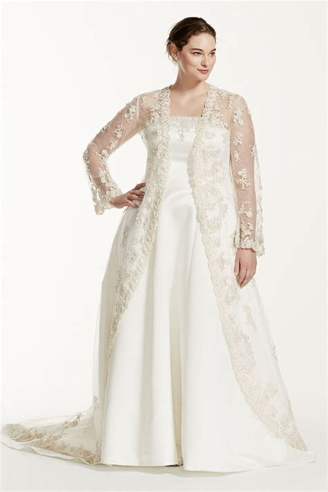 Plus Size Wedding Dress with Beaded Lace Jacket David's