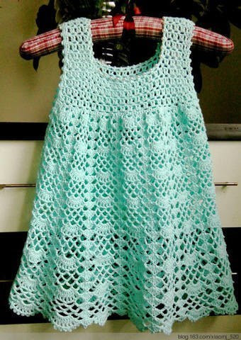 fan mesh baby dress pattern crochet 1
