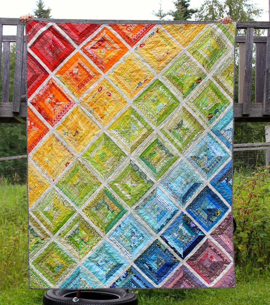 Rainbow Scrappy String Quilt