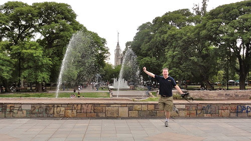 Greg dances by the fountain