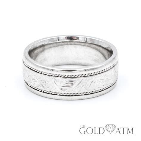 14K White Gold Custom Engraved Mens Wedding Band   The