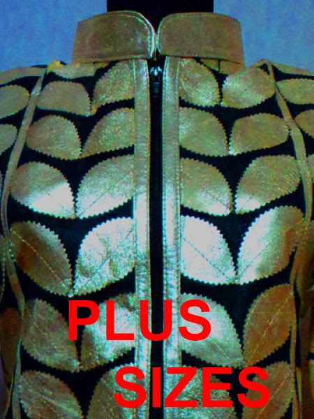 Click to See Available Colours of Plus Size Leather Leaf Jackets