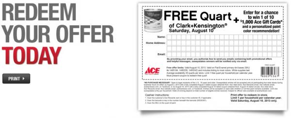 Ace Hardware: Free quart of Clark + Kensington paint (August 10, 2013)
