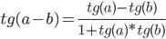tg (a - b) = (tg (a) - tg (b)) / (1 + tg (a) * tg (b))