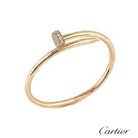cartier  rose gold juste  clou diamond bangle bp