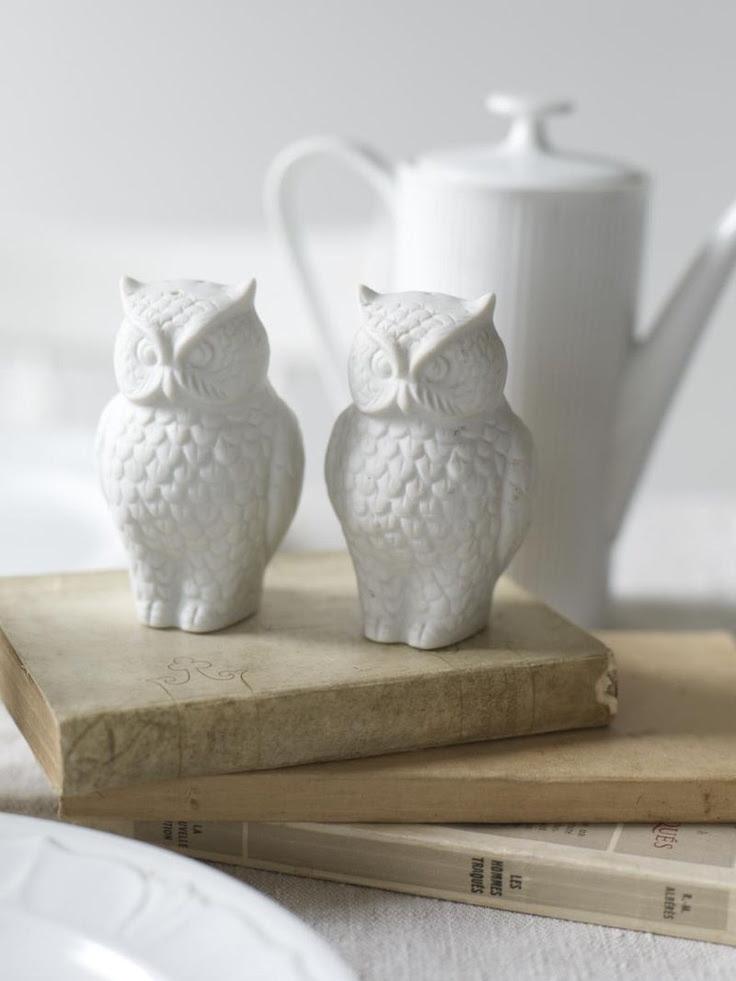 Owl S+P shakers and old vintage books. (Image credit: Alexandra Grablewski via the Sweet Paul Blog-http://bit.ly/bPmRoh)