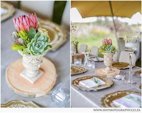Fresh pastel wedding decor with protea flowers, hessian
