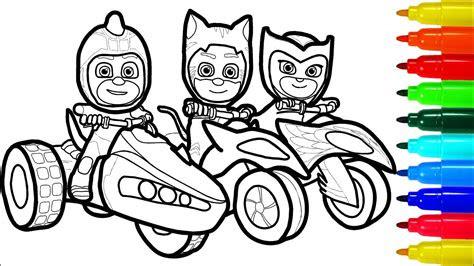pj masks  motorcycles coloring pages superheros