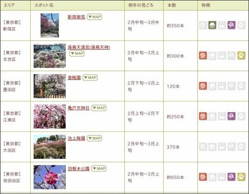 http://www.rurubu.com/season/winter/ume/list.aspx?KenCD=13