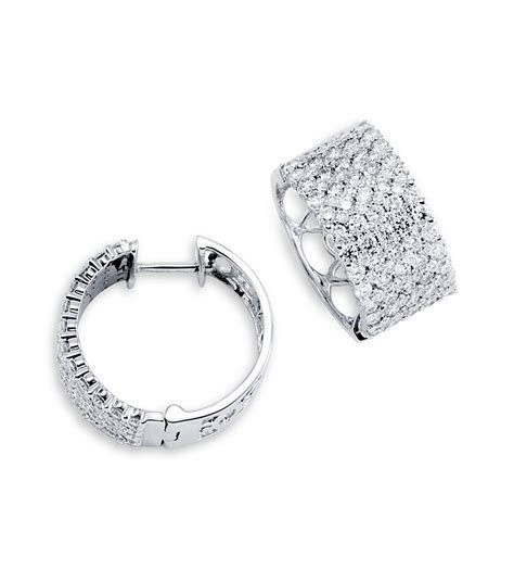 14K White Gold Hoops Extra Wide Round Diamond Earrings
