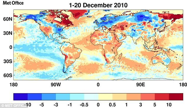 Daily mean temperature anomalies around the world between 1st December and 20th December
