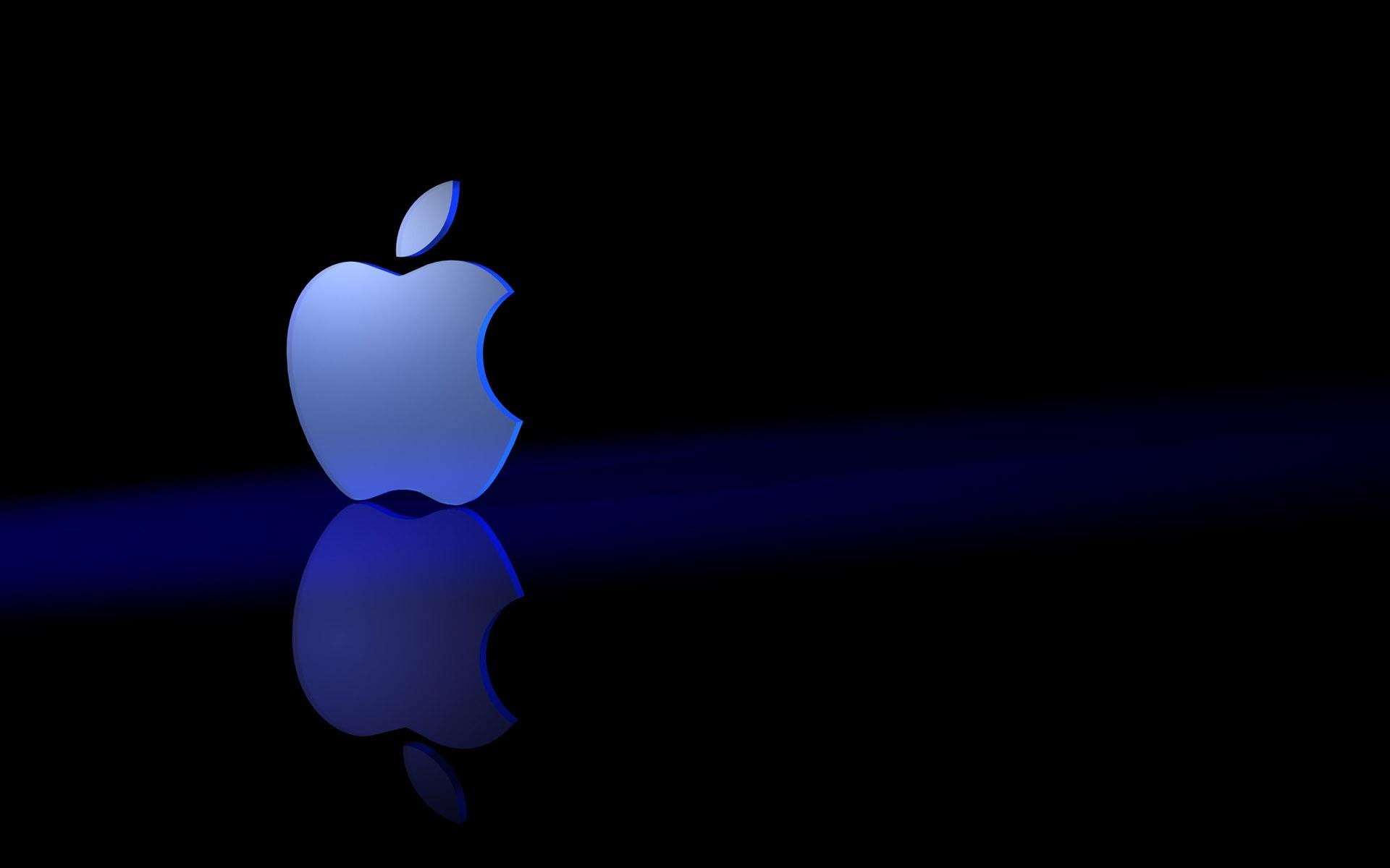 HD Apple In A Blue Shade Wallpaper