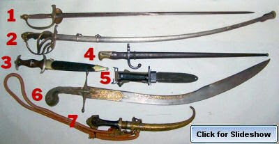 Seven of the swords in the 12/09/07 antique and collectibles auction.