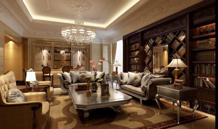 rich rennaisance mahogany library living china