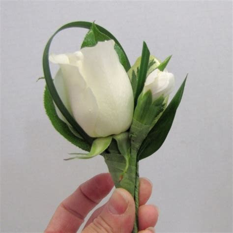 White Rose Boutonniere   Adding Ruscus Leaves   Easy