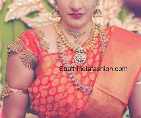 lotus work wedding blouse for kanchi pattu sarees   Saree