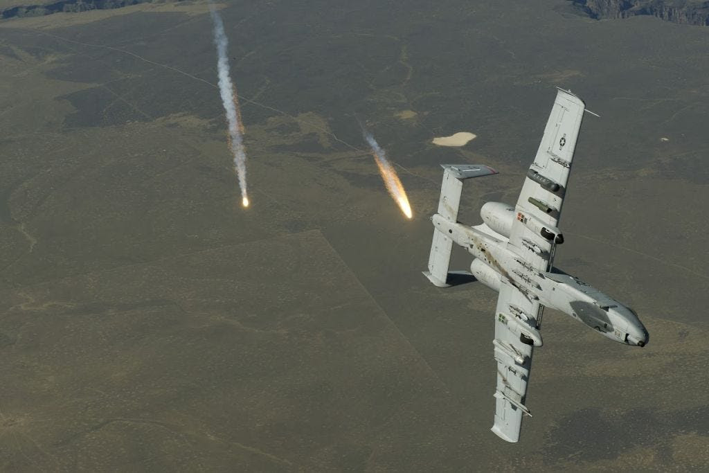 A10 Warthog Flares Air Force decoy heat seeking missiles