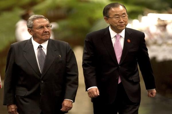 Ban y Raul Castro.