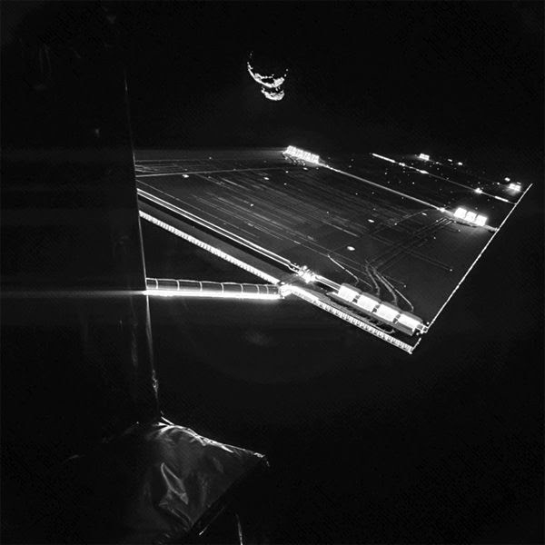 On September 7, 2014, this image was taken by the Philae lander that's currently attached to the European Space Agency's Rosetta spacecraft. Philae will be deployed by Rosetta and land on comet 67P/Churyumov–Gerasimenko's nucleus in November.