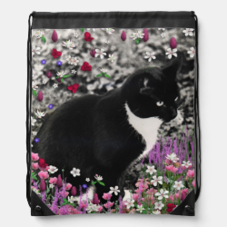 Freckles in Flowers II, Black and White Tuxedo Cat Backpacks