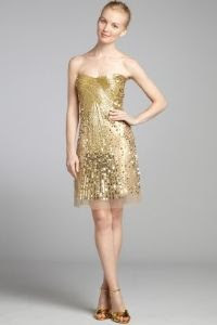 A.B.S. by Allen Schwartz Gold Sequin and Bead Mesh Strapless Dress