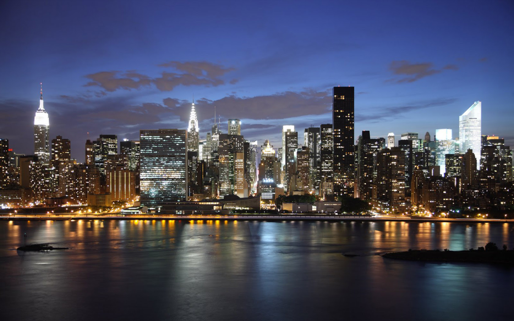 Ny Skyline Night Wallpaper 1680x1050 21768
