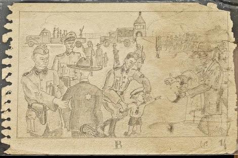 Uno d elos dibujos expuestos en el Museo de Auschwitz. | AP