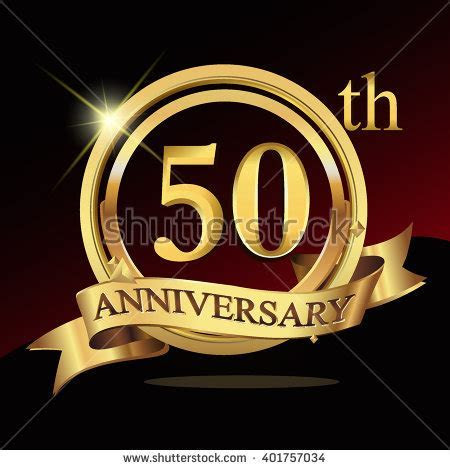 50th Years Golden Anniversary Logo Celebration Stock