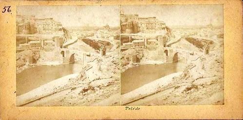 Fotografía estereoscópica del Puente de Alcántara hacia 1860