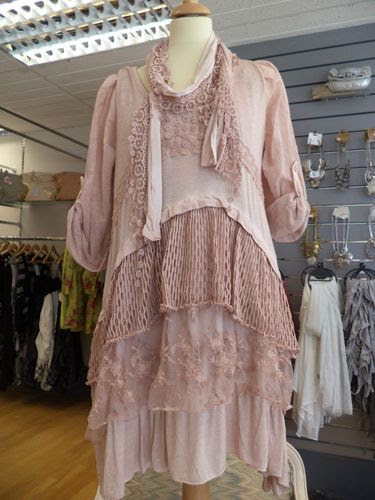 NEW SEASON DIVERSE 3 PIECE ITALIAN STUNNING LAGENLOOK LACEY TUNIC/DRESS PINK:
