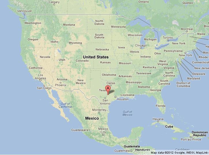 Austin Texas on US Map