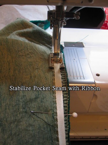 Stabilize Pocket Seam with Ribbon