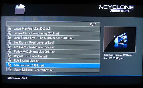 SumVision Cyclone Micro 2+ HD Media Player file selection screen