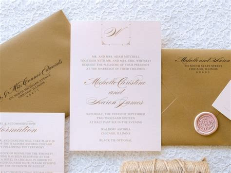 Blush Shimmer and Gold Foil Wedding Invitation with Rose