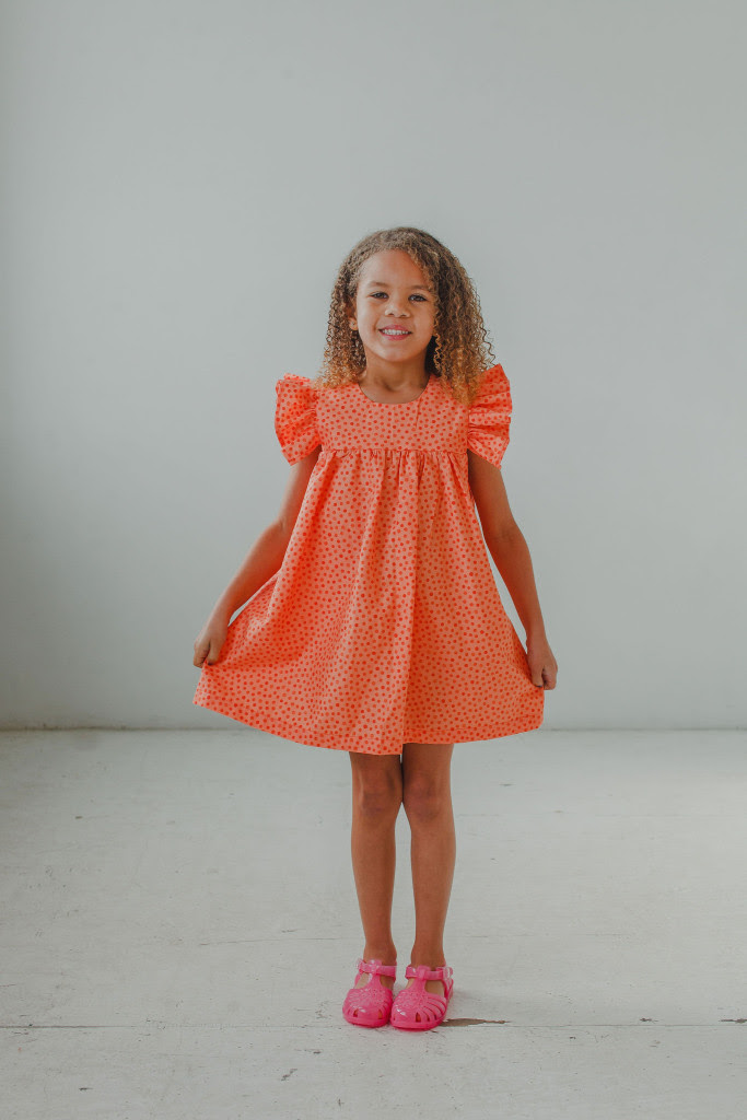 little girls Easter dresses - orange polka dot sundress