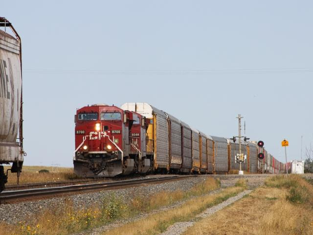 CP 8700 and an intermodal train in Chaplin Saskatchewan