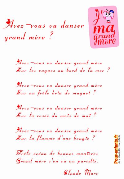 POEME pour la fête des grands mères 2013 A imprimer gratuit