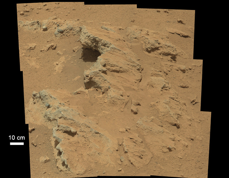 "Curiosity found evidence of an ancient, flowing stream on Mars at a few sites, including the ""Hottah"" rock outcrop pictured here. Credit: NASA/JPL"