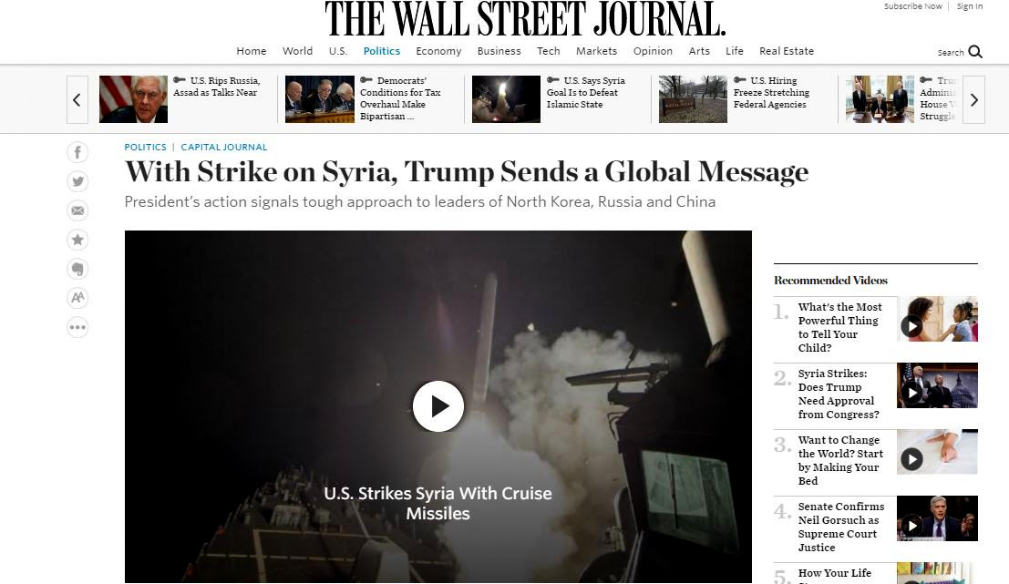 The Washington times editorial: With Strike on Syria, Trump Sends a Global Message. (Screenshot)