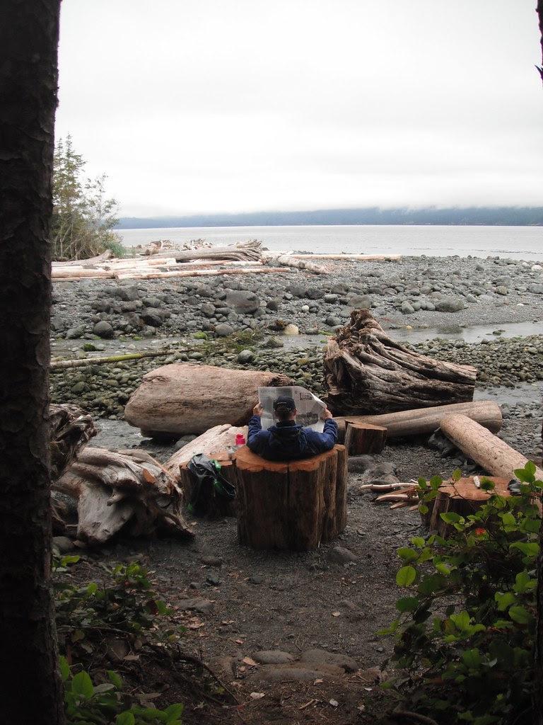 Morning paper, Orca Camp, Johnstone Straits, BC
