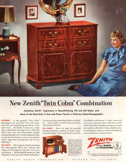 "Zenith Radio Corporation's ""Twin Cobra"" console combination – New Zenith ""Twin Cobra"" Combination (1949)"