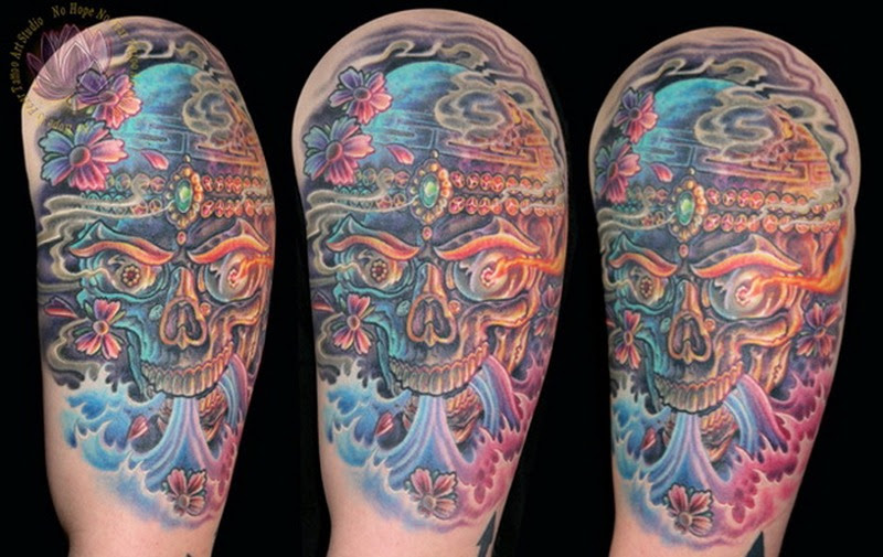 Half Sleeve Majestic Sugar Skull Tattoo Design Tattoos Book