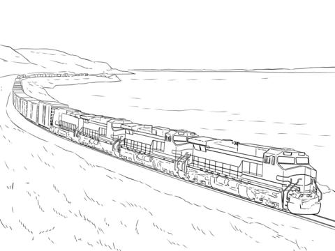 貨物列車 ぬりえ